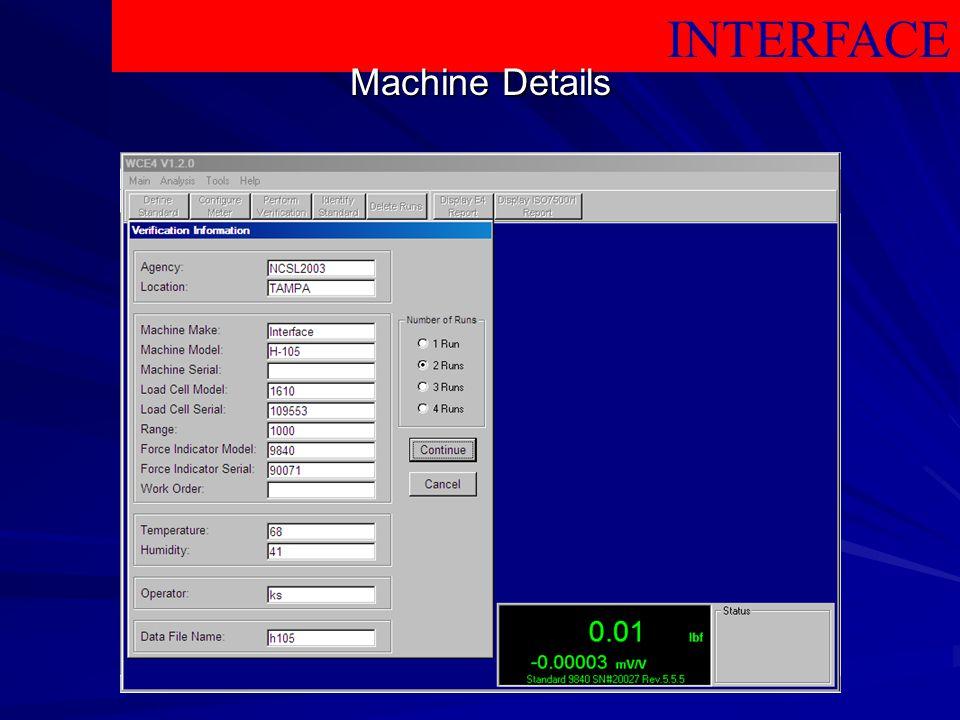 INTERFACE Machine Details
