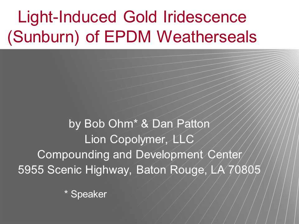 Light-Induced Gold Iridescence (Sunburn) of EPDM Weatherseals