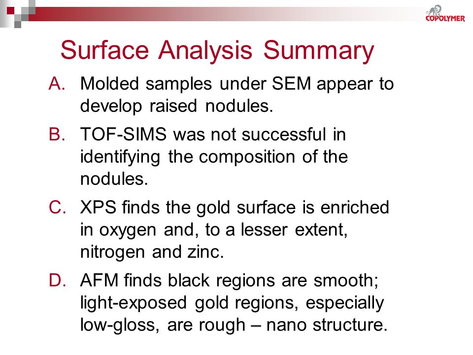 Surface Analysis Summary