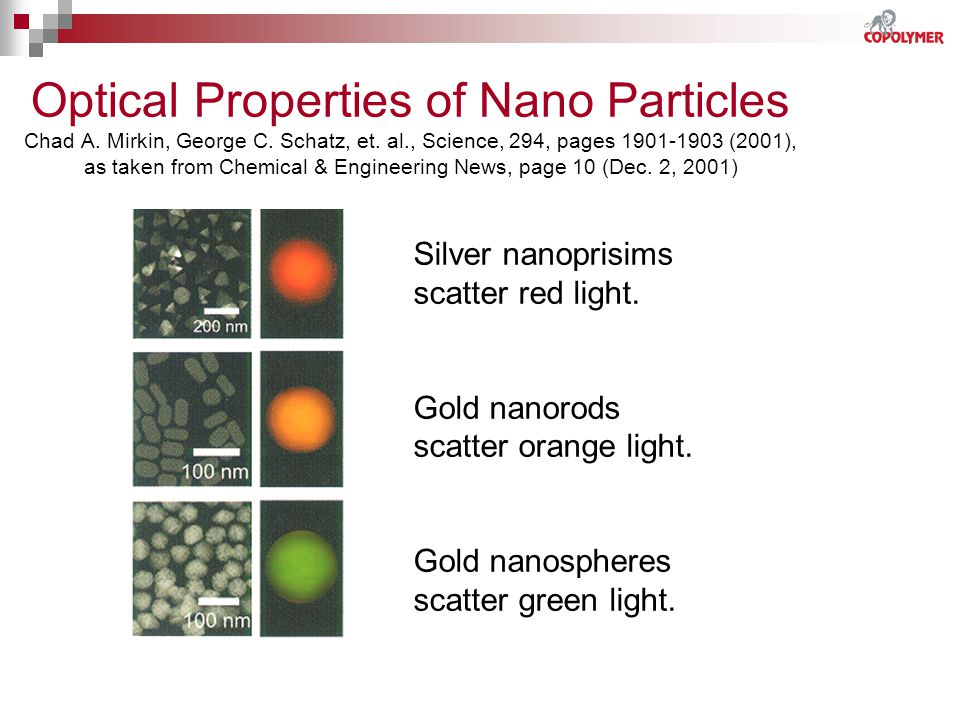 Optical Properties of Nano Particles Chad A. Mirkin, George C