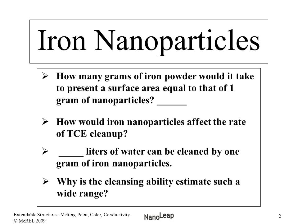 Iron Nanoparticles How many grams of iron powder would it take to present a surface area equal to that of 1 gram of nanoparticles ______.