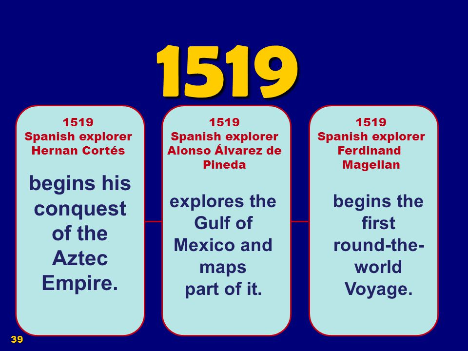 1519 begins his conquest of the Aztec Empire.