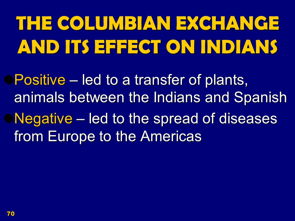 THE COLUMBIAN EXCHANGE AND ITS EFFECT ON INDIANS