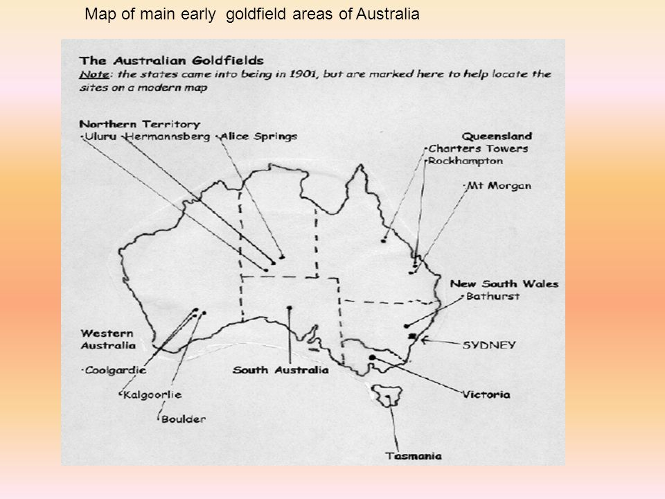 Map of main early goldfield areas of Australia