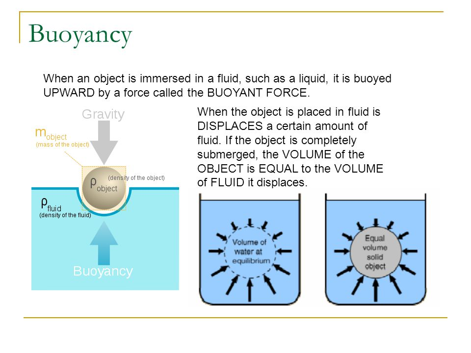 Buoyancy When an object is immersed in a fluid, such as a liquid, it is buoyed UPWARD by a force called the BUOYANT FORCE.