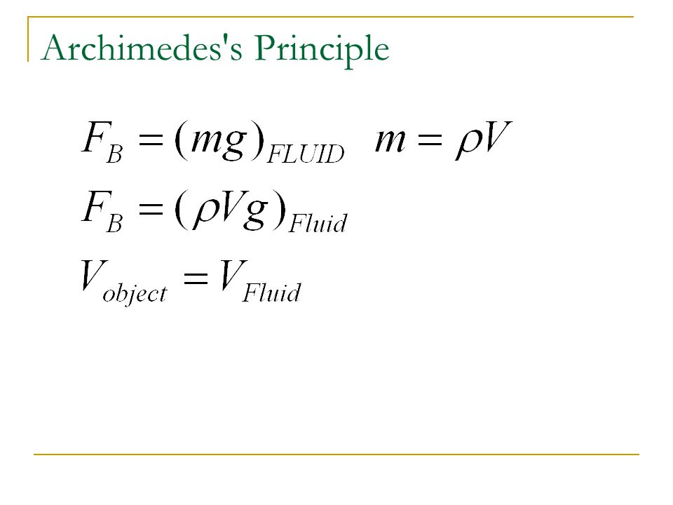 Archimedes s Principle