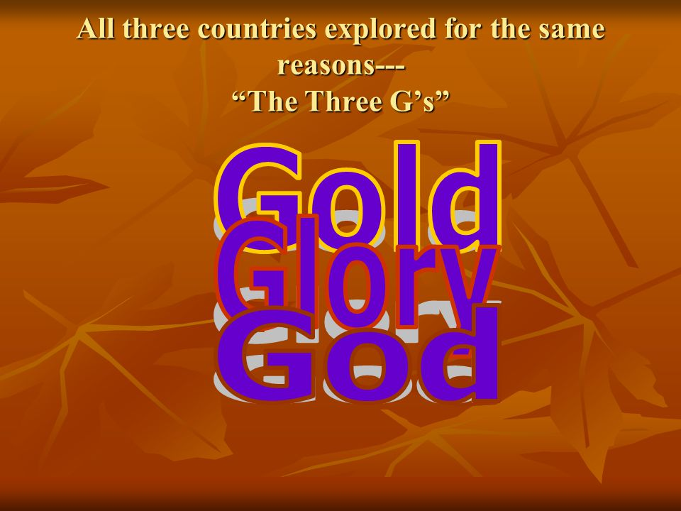 All three countries explored for the same reasons--- The Three G's