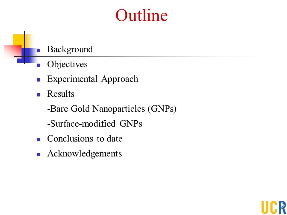 Outline Background Objectives Experimental Approach Results