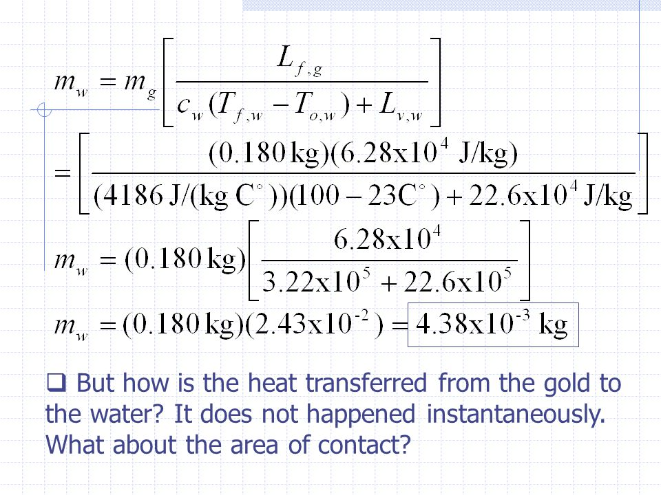But how is the heat transferred from the gold to the water