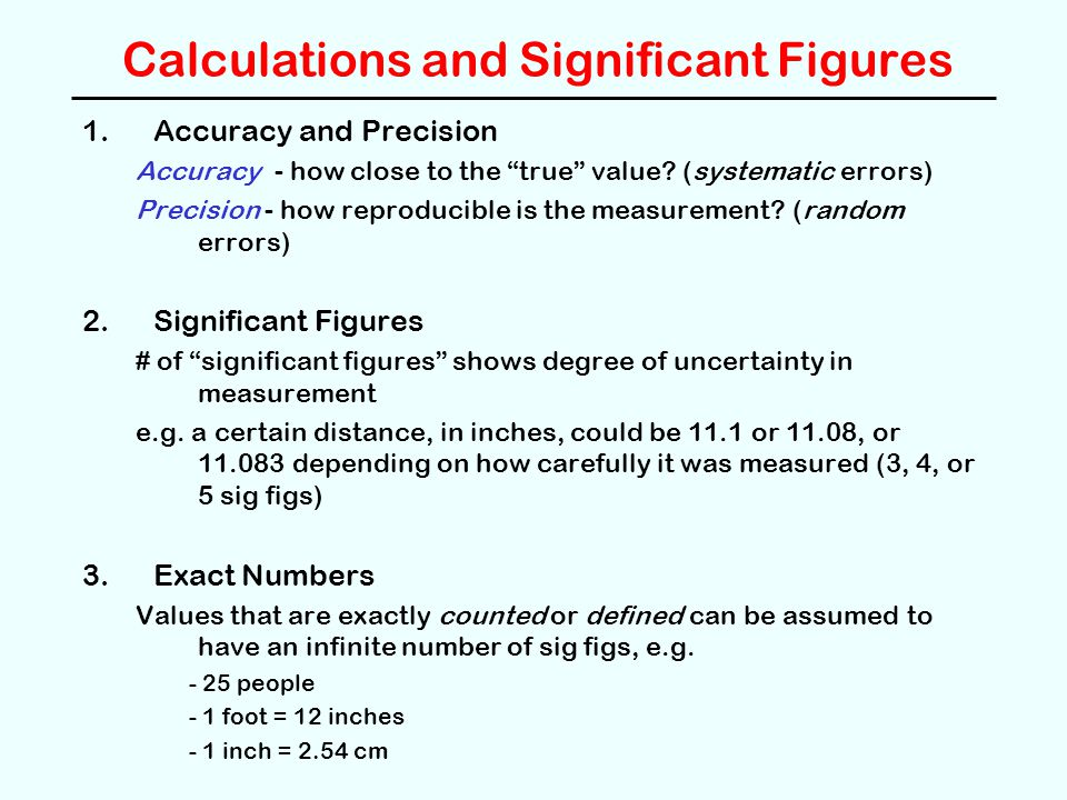 Calculations and Significant Figures