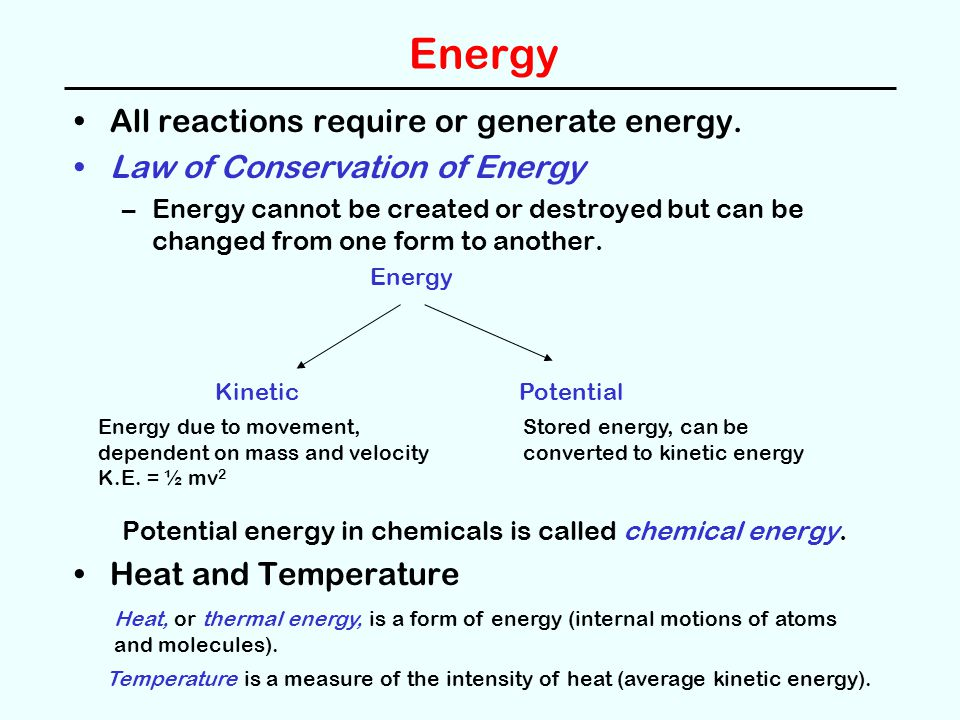 Energy All reactions require or generate energy.