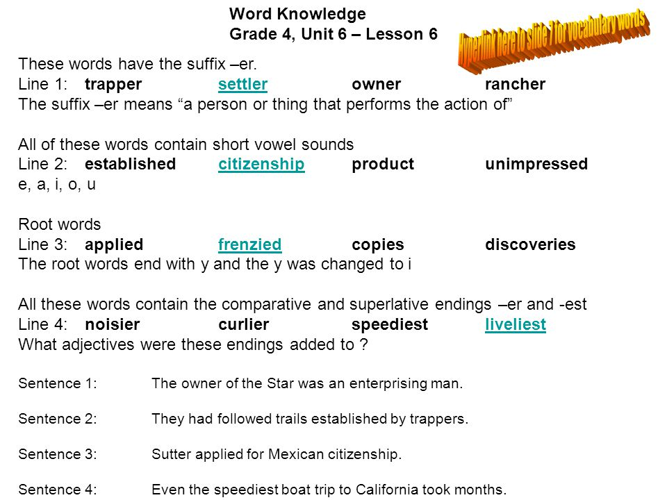 Hyperlink here to slide 7 for vocabulary words