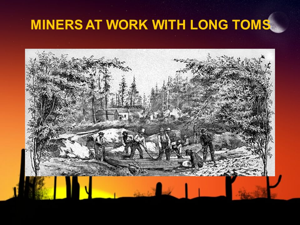 MINERS AT WORK WITH LONG TOMS