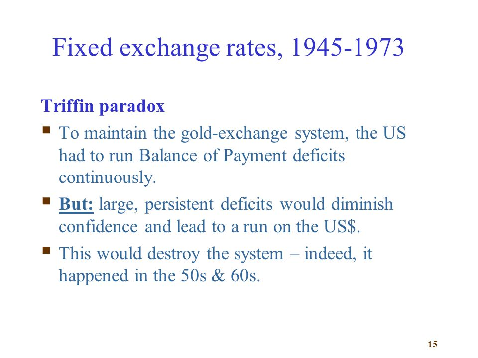 Fixed exchange rates, 1945-1973 Triffin paradox