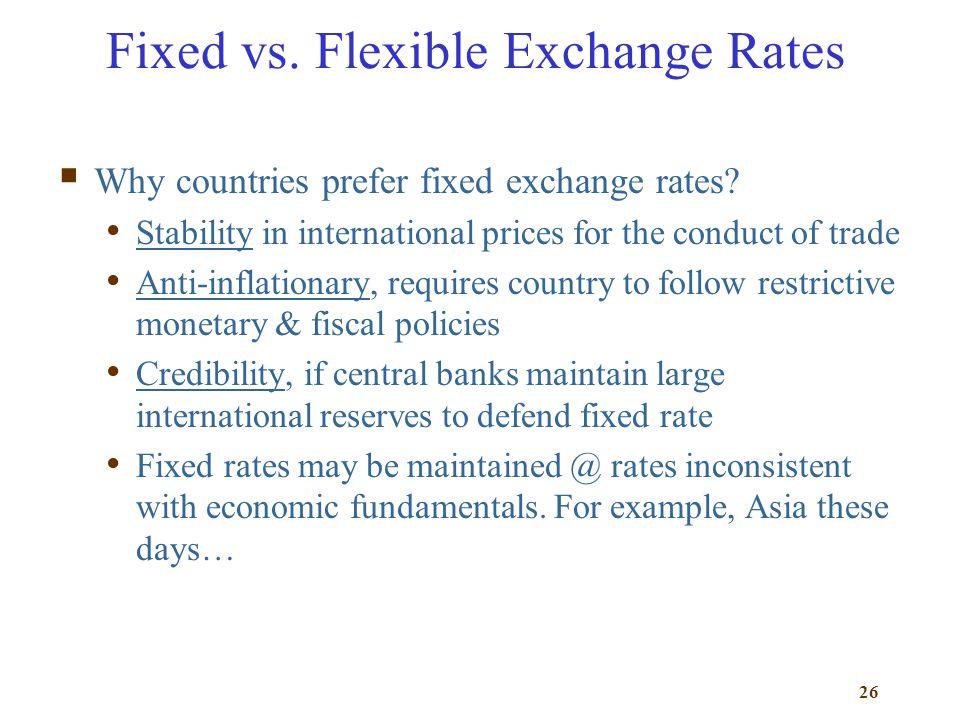 Fixed vs. Flexible Exchange Rates