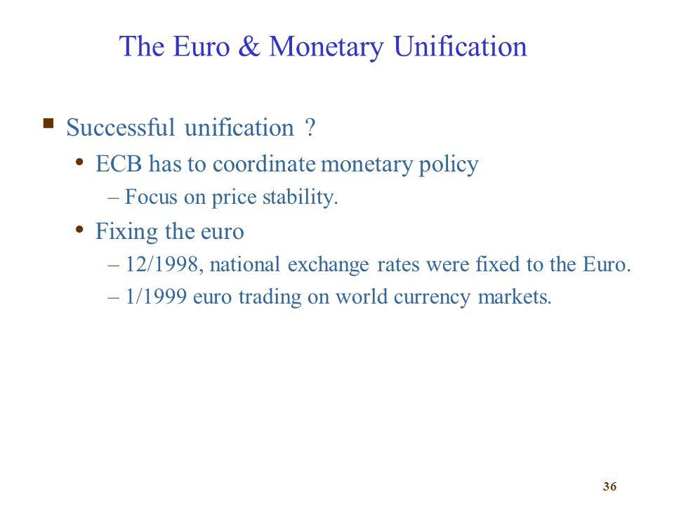 The Euro & Monetary Unification