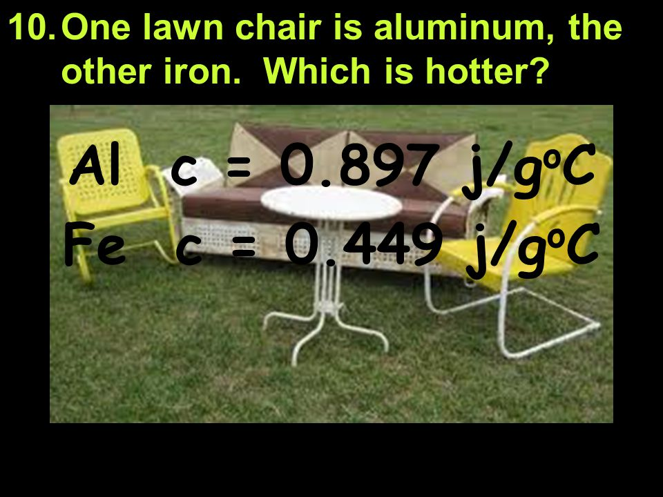One lawn chair is aluminum, the other iron. Which is hotter