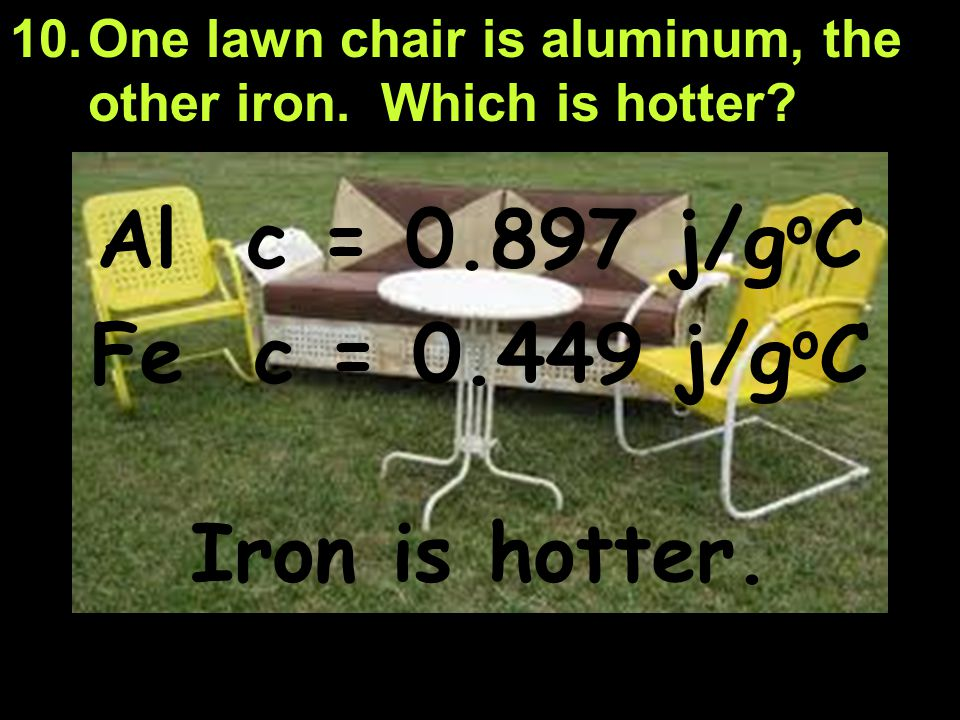 Al c = 0.897 j/goC Fe c = 0.449 j/goC Iron is hotter.