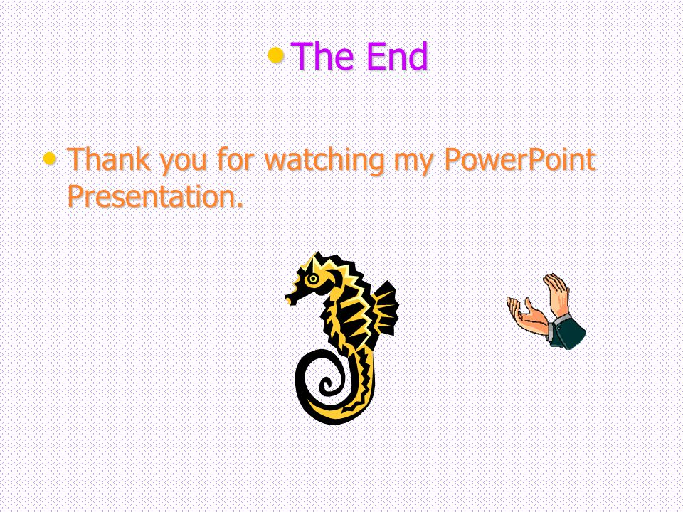 The End Thank you for watching my PowerPoint Presentation.