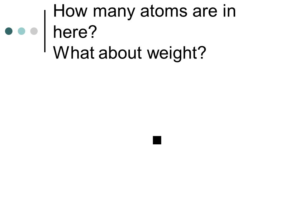 How many atoms are in here What about weight