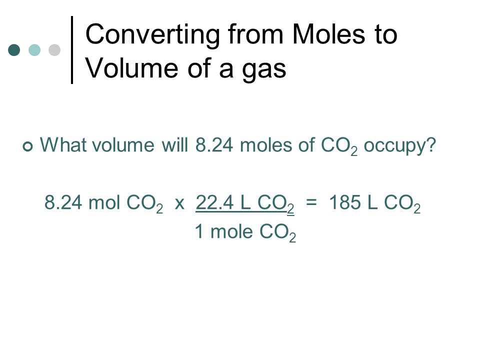 Converting from Moles to Volume of a gas