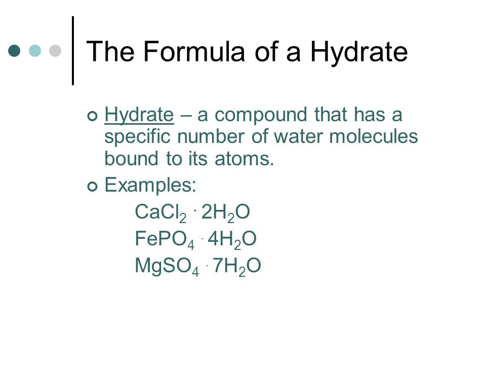 formula of a hydrate lab We did a lab at our school recently but some of the questions regarding the lab confused me the data obtained from the lab is here: determining the.