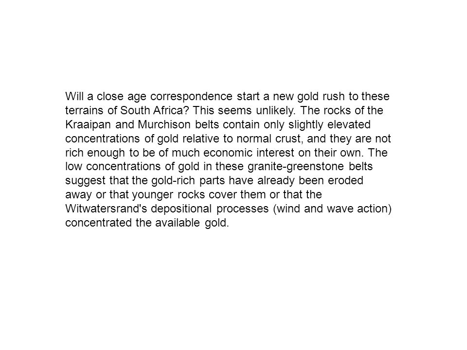 Will a close age correspondence start a new gold rush to these terrains of South Africa.