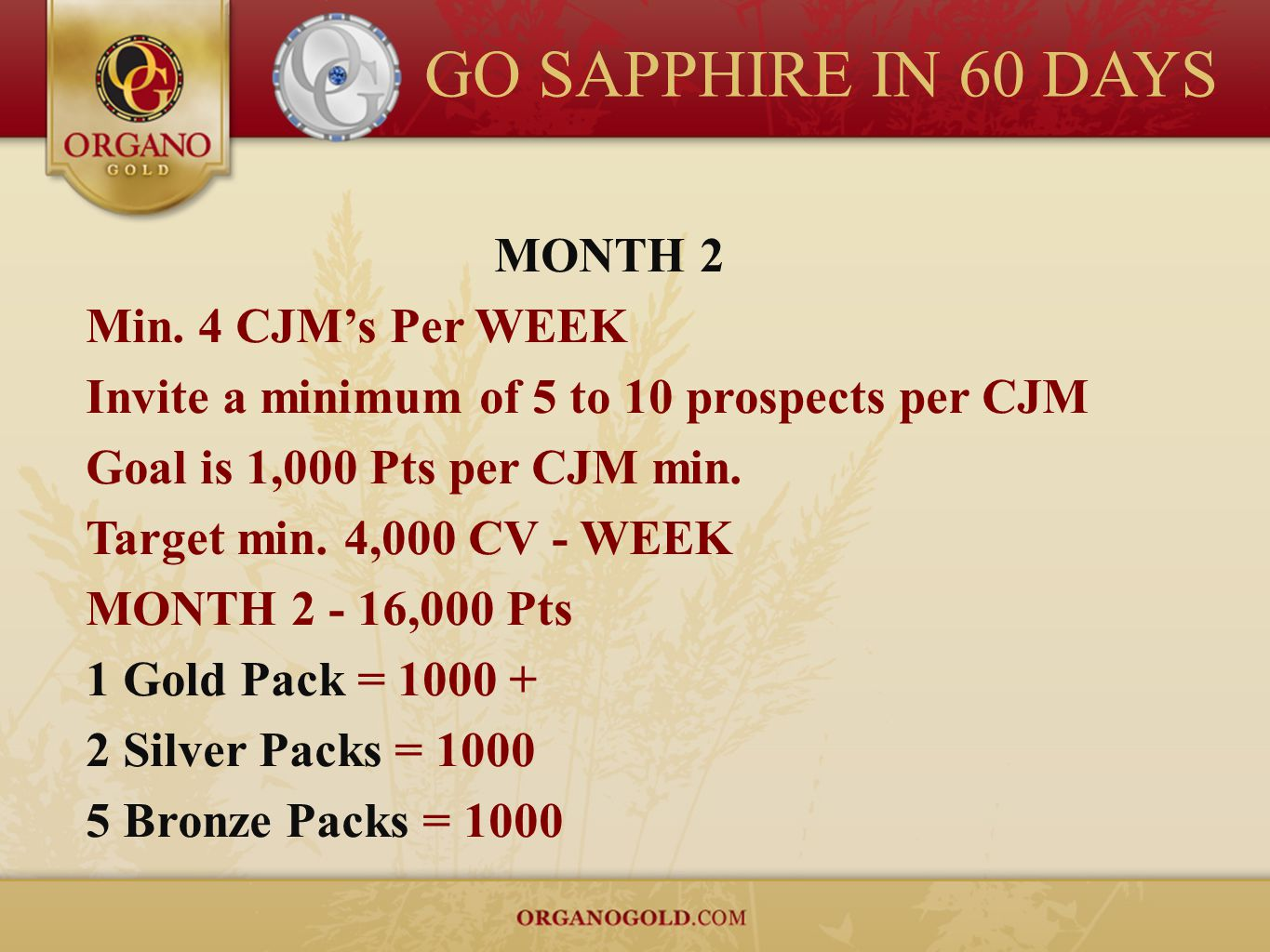 GO SAPPHIRE IN 60 DAYS MONTH 2 Min. 4 CJM's Per WEEK