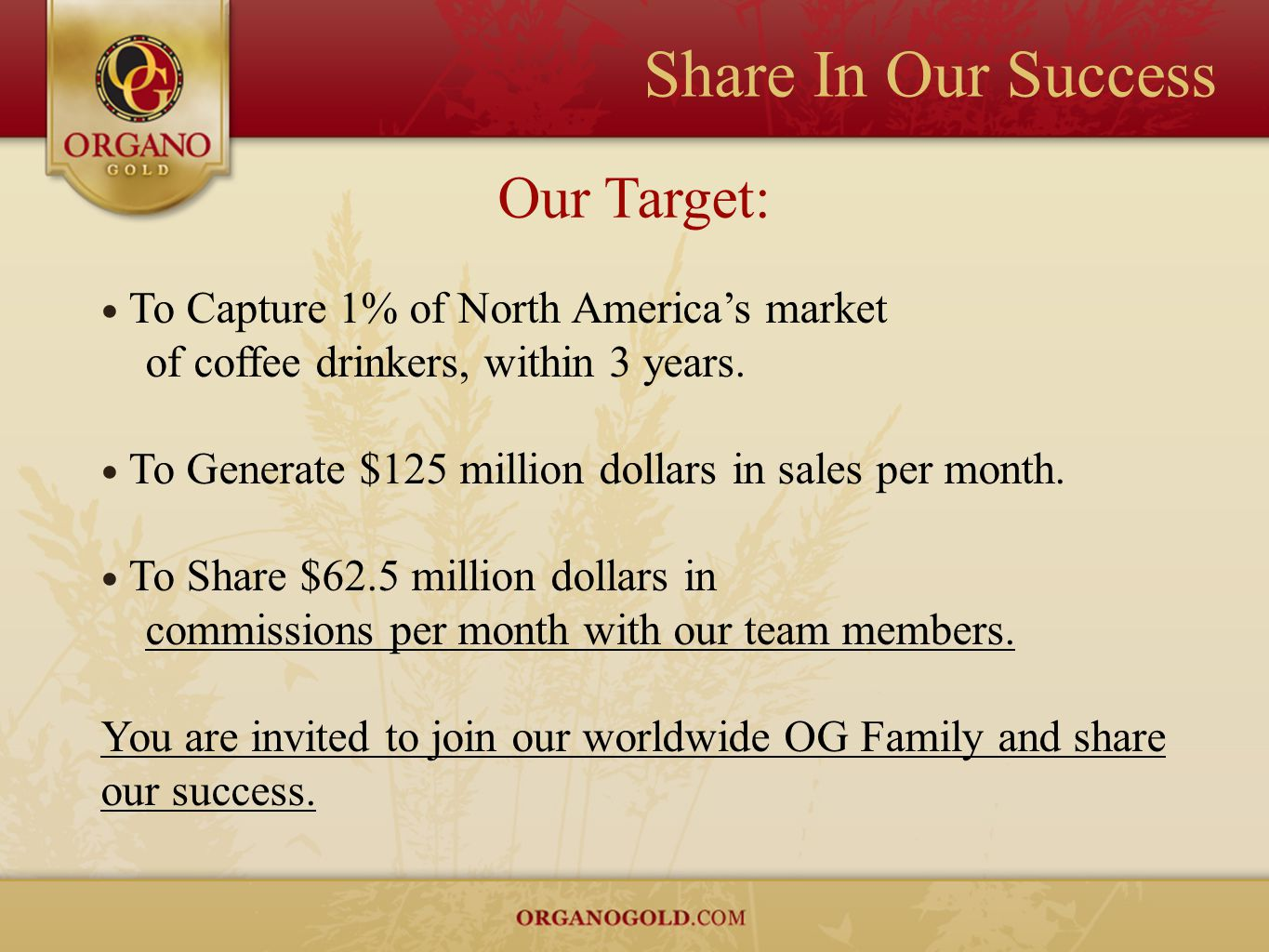 Share In Our Success Our Target: