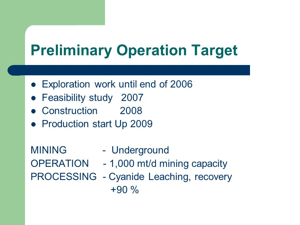 Preliminary Operation Target