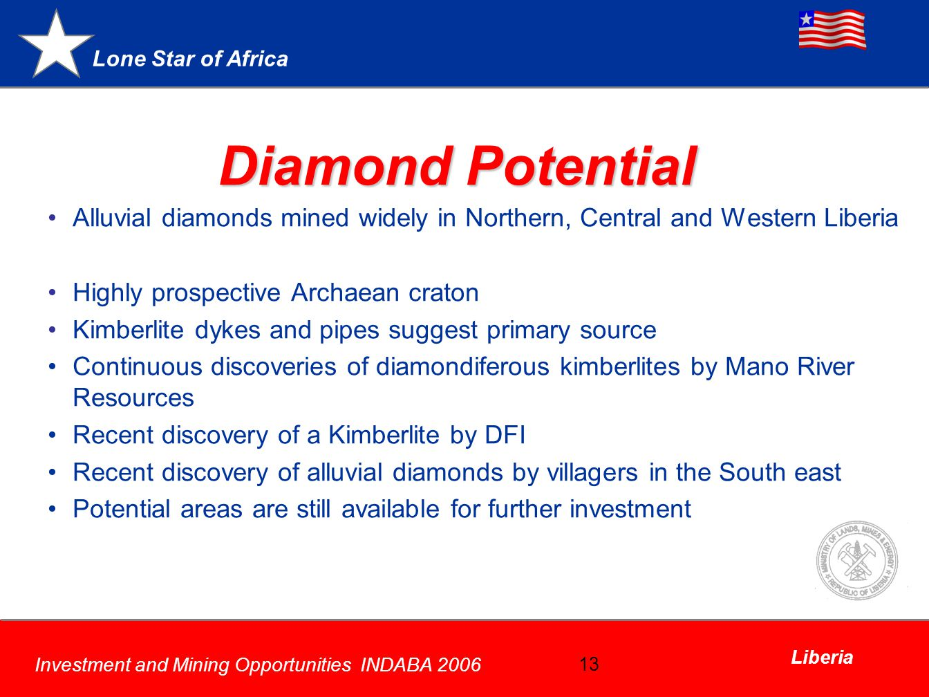 Diamond Potential Alluvial diamonds mined widely in Northern, Central and Western Liberia. Highly prospective Archaean craton.