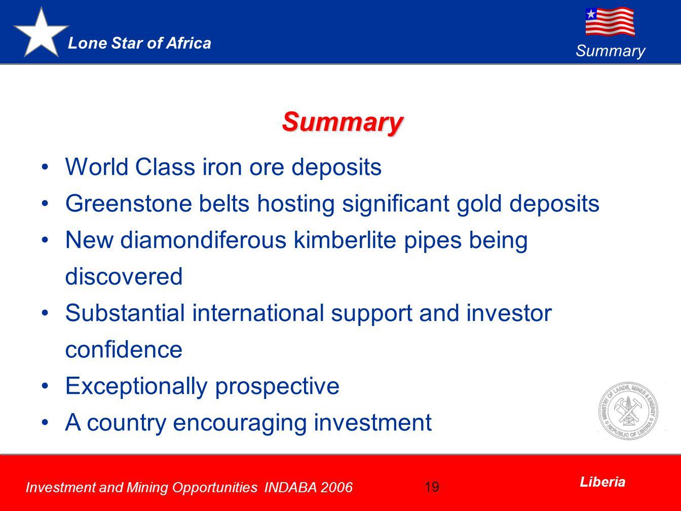Summary World Class iron ore deposits