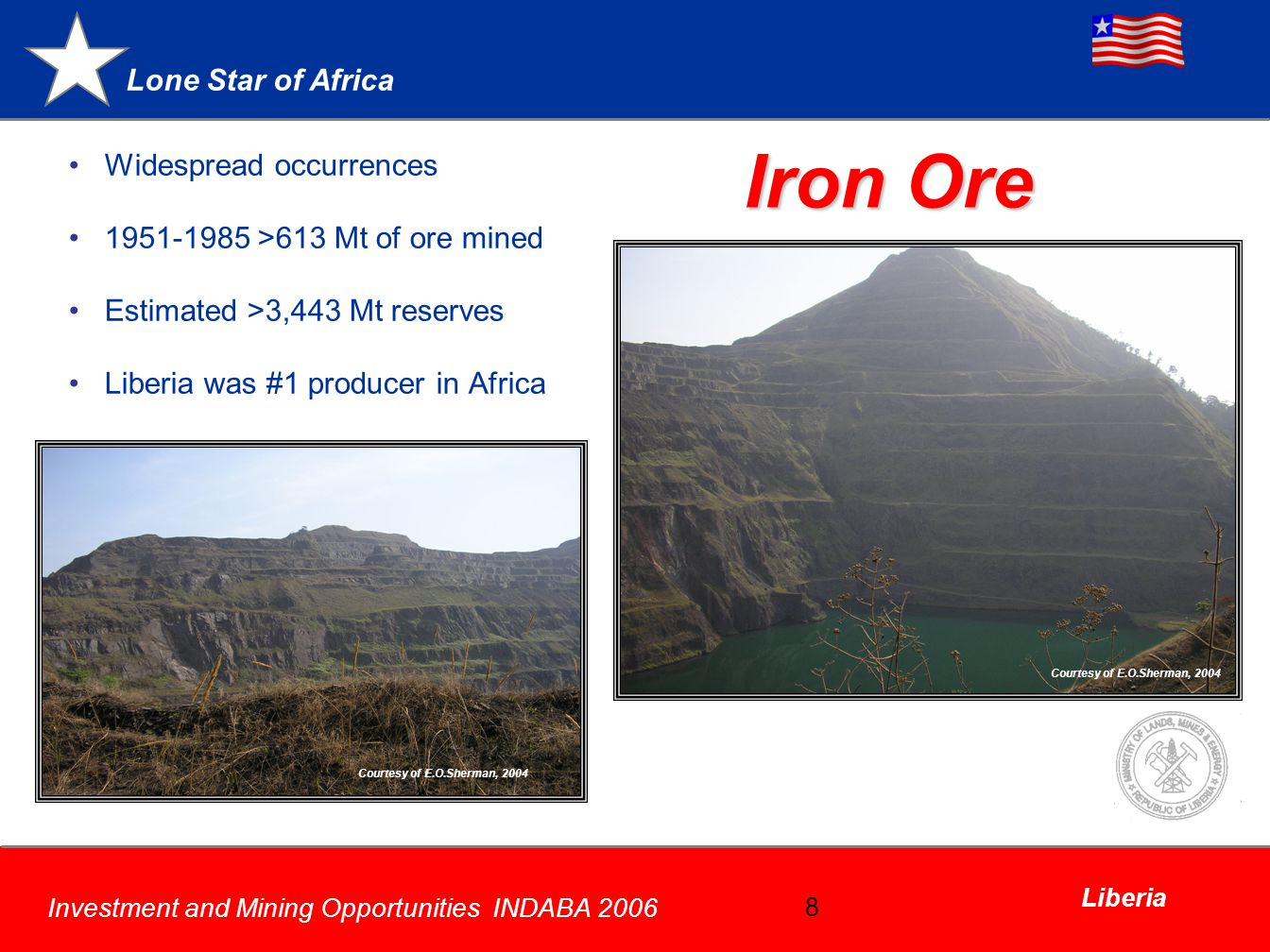 Iron Ore Widespread occurrences 1951-1985 >613 Mt of ore mined