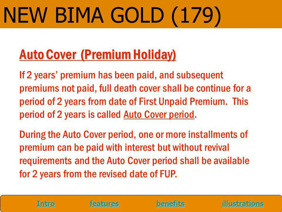 NEW BIMA GOLD (179) Auto Cover (Premium Holiday)