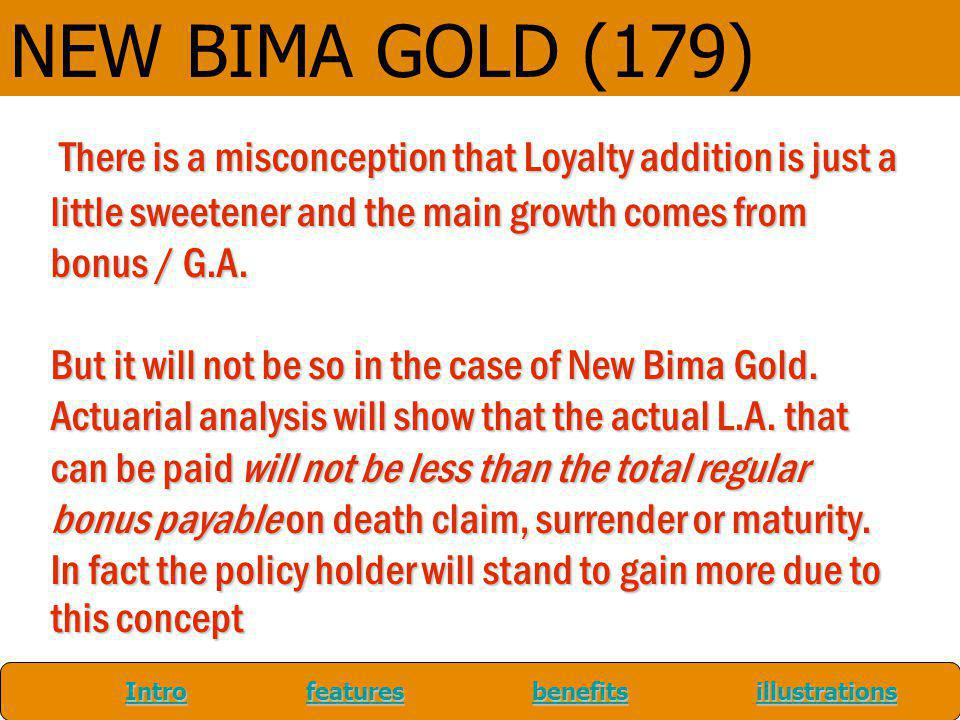NEW BIMA GOLD (179) There is a misconception that Loyalty addition is just a little sweetener and the main growth comes from bonus / G.A.