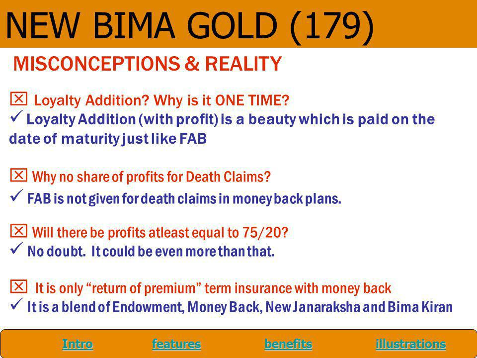 NEW BIMA GOLD (179) MISCONCEPTIONS & REALITY