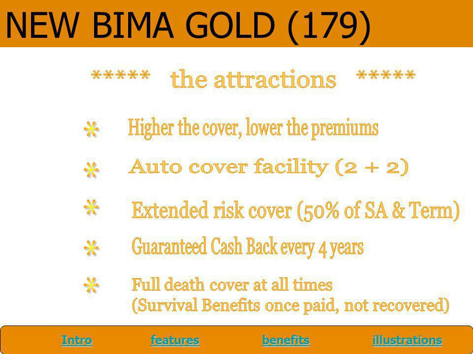 NEW BIMA GOLD (179) Extended risk cover (50% of SA & Term)