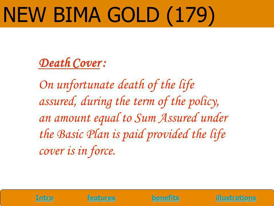 NEW BIMA GOLD (179) Death Cover :