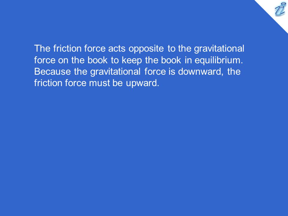 The friction force acts opposite to the gravitational force on the book to keep the book in equilibrium.