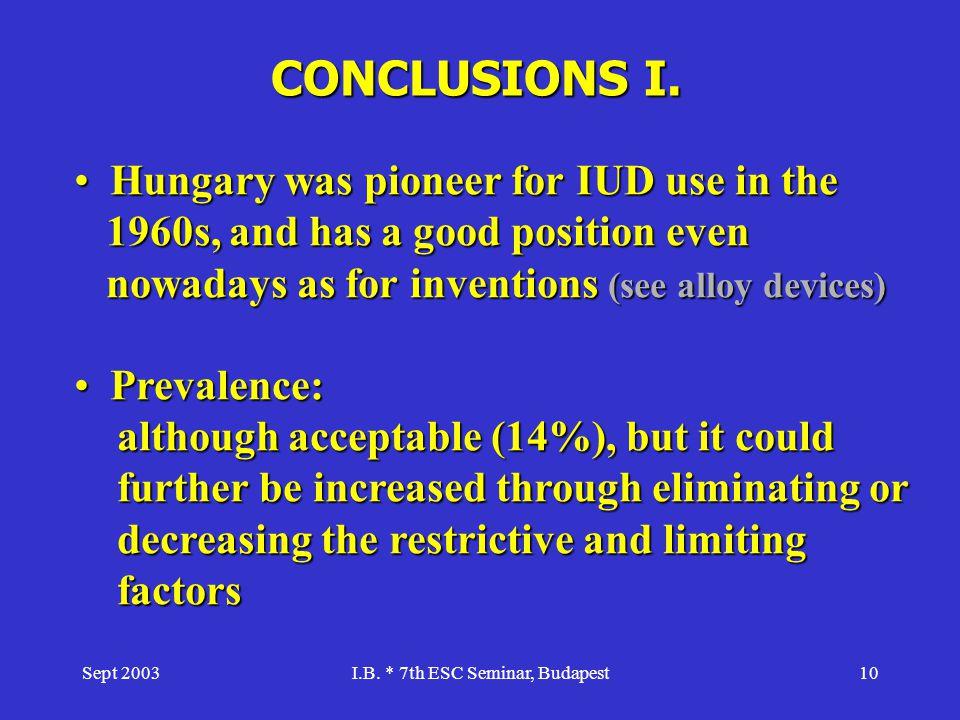 I.B. * 7th ESC Seminar, Budapest