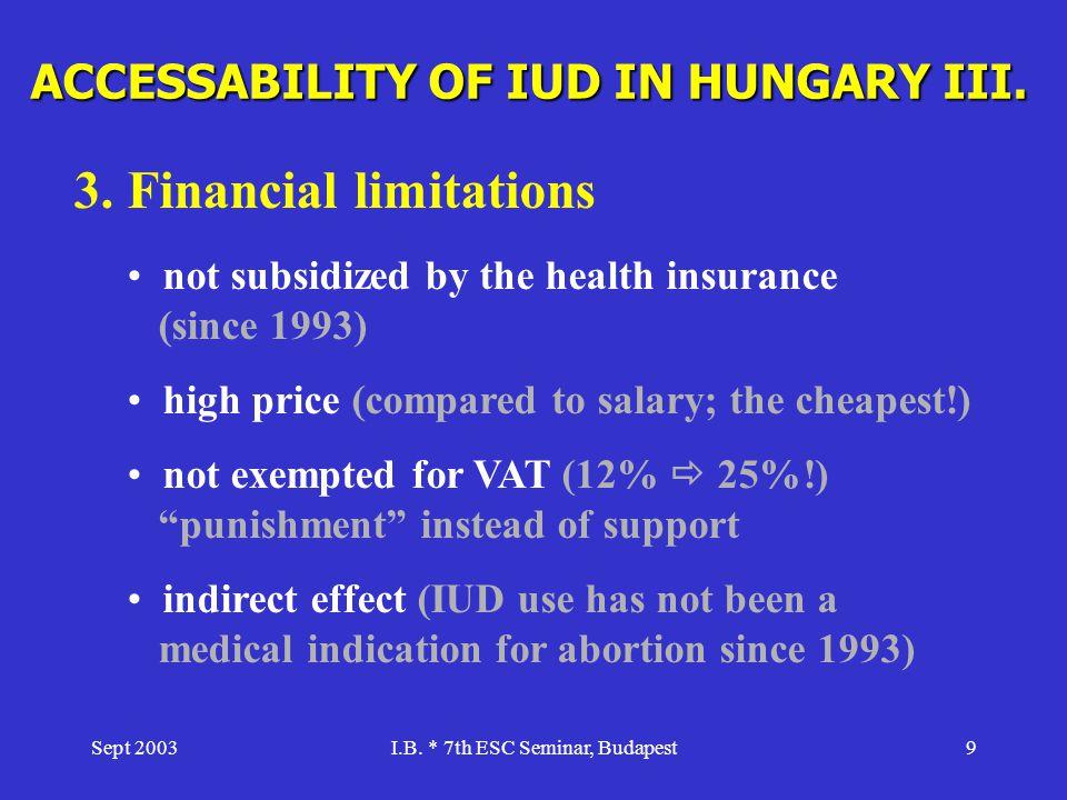 ACCESSABILITY OF IUD IN HUNGARY III.