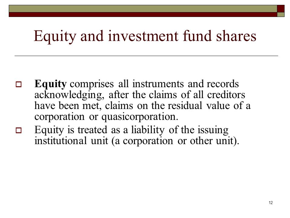 Equity and investment fund shares