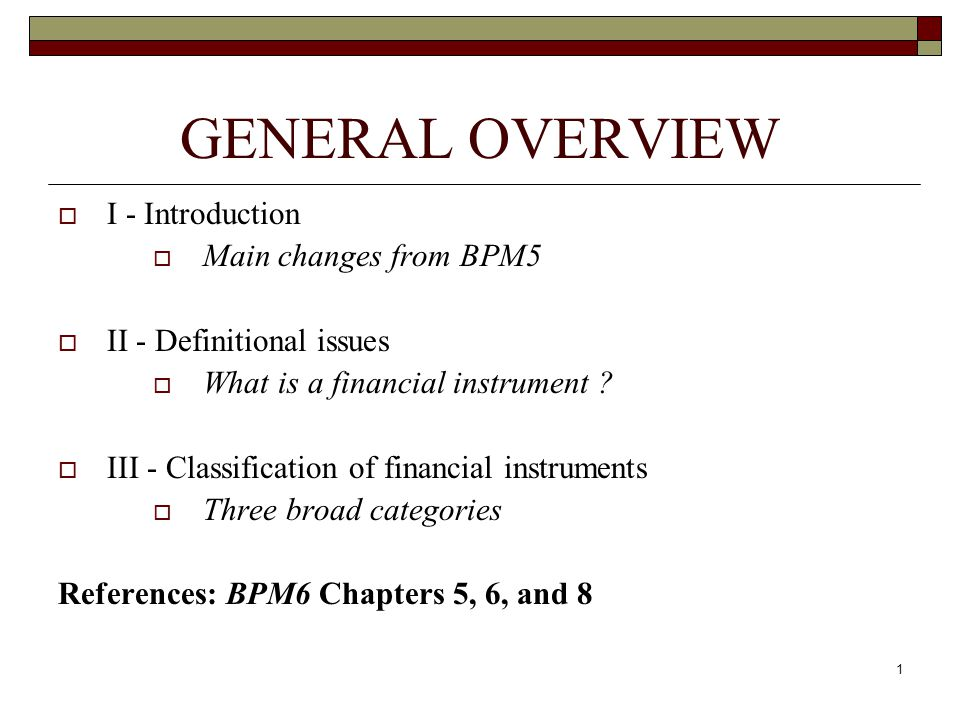 GENERAL OVERVIEW I - Introduction Main changes from BPM5