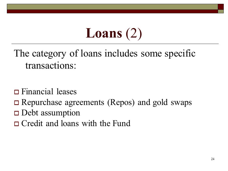 Loans (2) The category of loans includes some specific transactions: