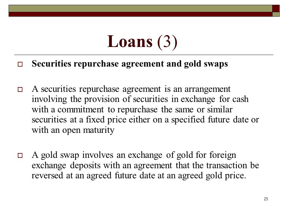 Loans (3) Securities repurchase agreement and gold swaps
