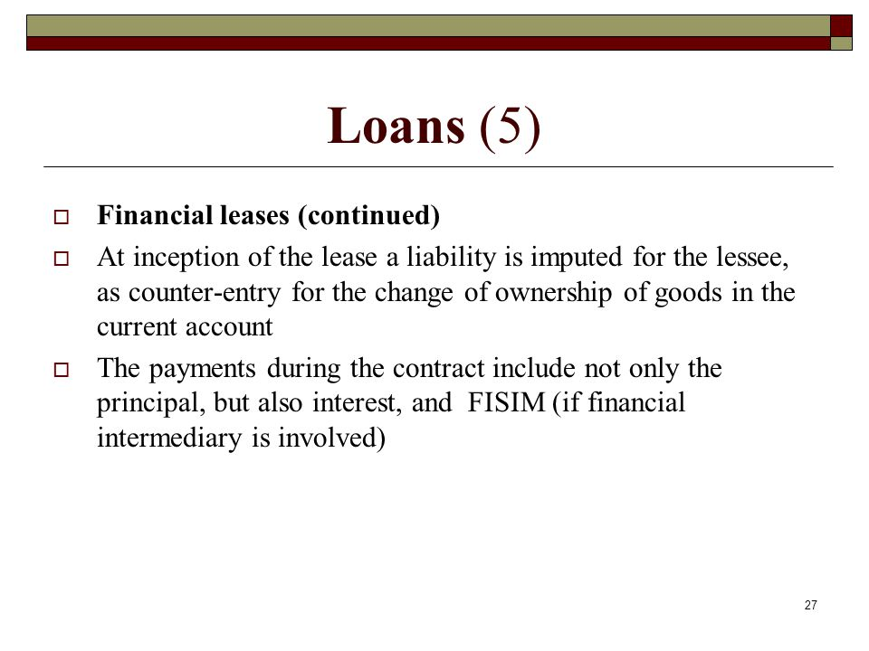 Loans (5) Financial leases (continued)