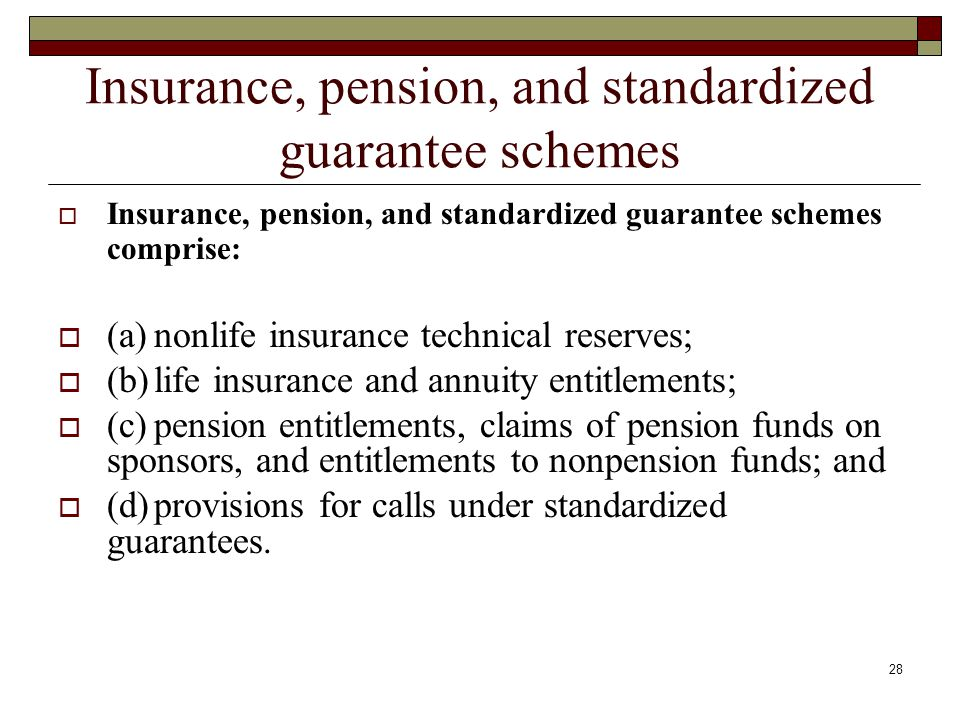Insurance, pension, and standardized guarantee schemes