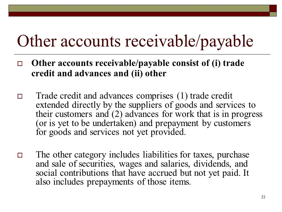 Other accounts receivable/payable