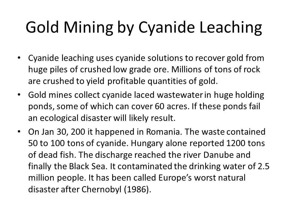 Gold Mining by Cyanide Leaching