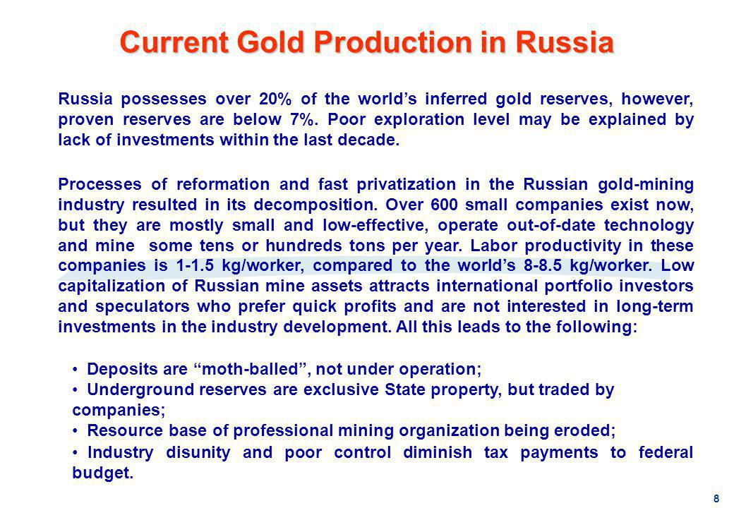 Current Gold Production in Russia